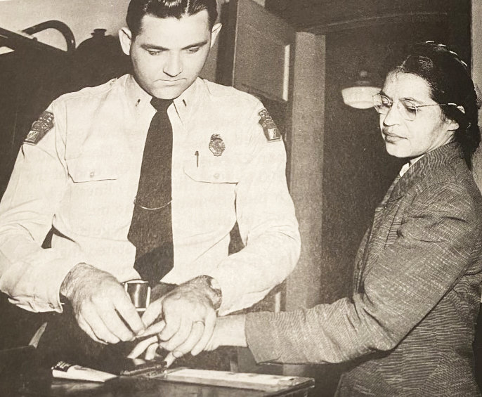 Rosa Parks is fingerprinted after her arrest on Dec. 1, 1955,for violating the Montgomery city ordinance segregating the races.