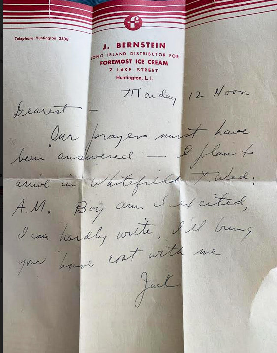 "A letter written by Toby Simon's father, Jack, to her mother, in advance of their marriage, which had been saved by her mother and ""rediscovered"" by Toby while going through boxes in storage in her basement."
