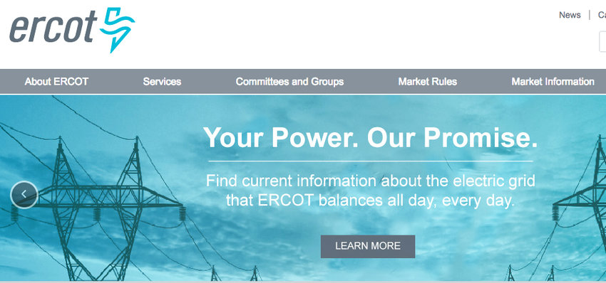 The landing page for the website for ERCOT,, the corporate structure that controls the operations of the electric power grid in Texas, which failed to invest in weatherizing the grid to protect it from cold weather, despite repeated warnings.