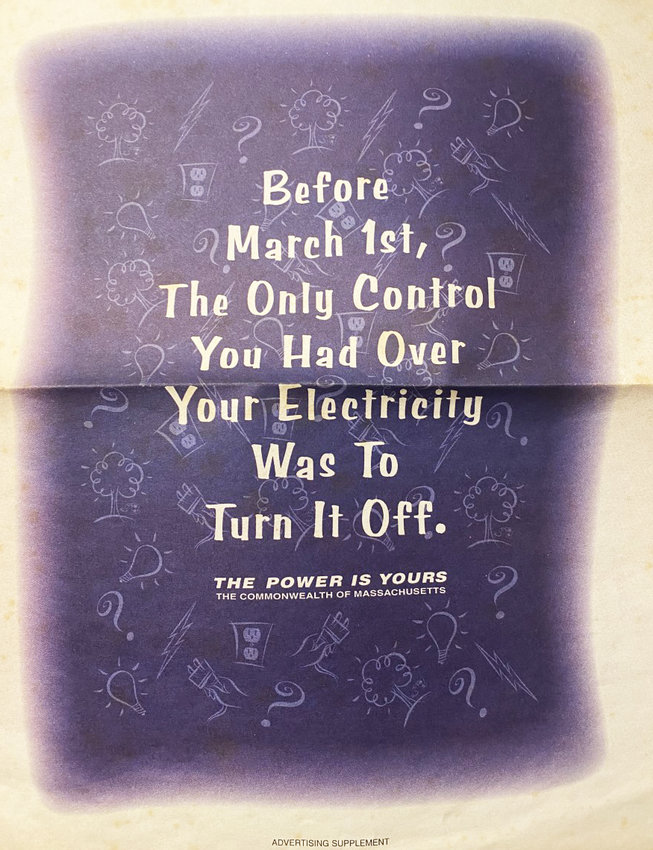 A brochure promoting the restructuring of the electric utility industry in Mass. in 1998.