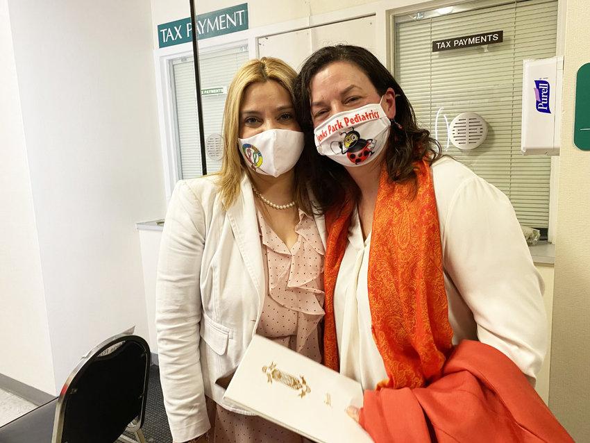 Central Falls Mayor Maria Rivera, left, and Dr. Beata Nelken.