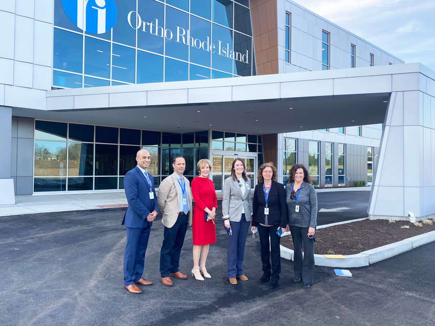 Members of the Ortho RI team:  From left, Kyle Anderson, the regional director of Ancillary Services; Dr. Michael Bradley, president and CEO; Executive Director Mary Elle Ashe; Kat Young, director of Patient and Employee Experience; Mary Brum, director of Operations, and Michelle Inkley, Business Support Manager.