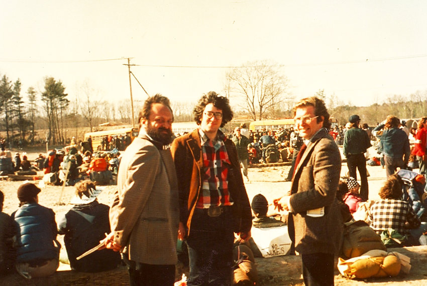 The news media covering the arrests at the 1977 Seabrook, N.H. occupation organized by the Clamshell Alliance. From left: Paul Langner, Boston Globe; Richard Asinof, The Valley Advocate; and John Kifner, The New York Times.