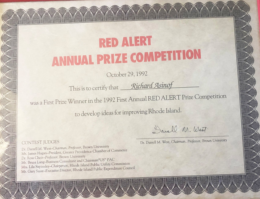 The certificate from the first annual Red Alert Prize Competition for answers identifying the best ideas for improving Rhode Island.