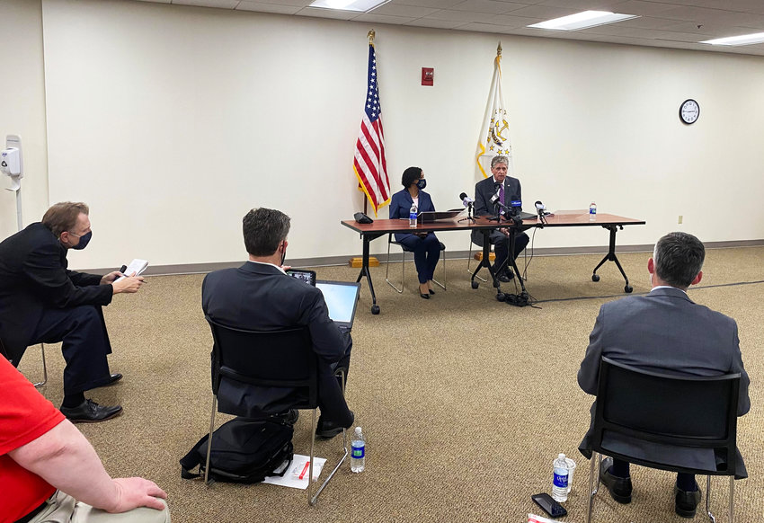 Meeting the press. Gov. Dan McKee and Lt. Gov. Sabina Matos answer questions at an April 20 news conference. There were only two women reporters in attendance.