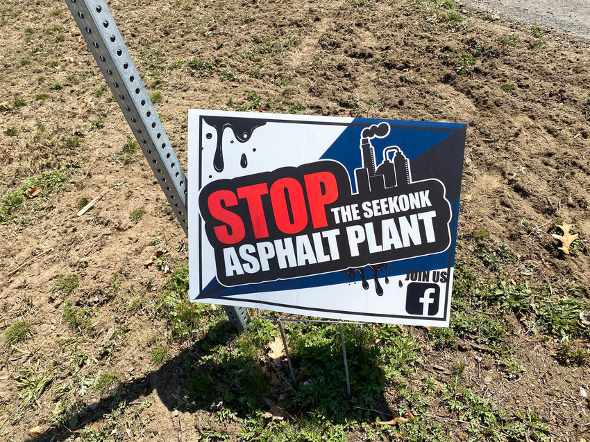 A lawn sign of the local group in Seekonk, Mass., which is attempting to halt an asphalt facility. The Seekonk Board of Health ruled against the facility at a April 21 meeting.