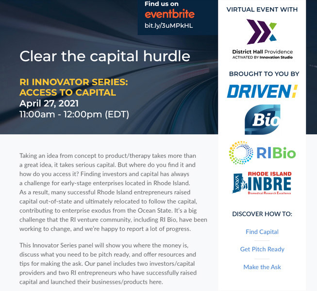 """The promotional brochure for the latest RI Bio """"Innovator Series,"""" which featured a discussion of how to access capital investment."""