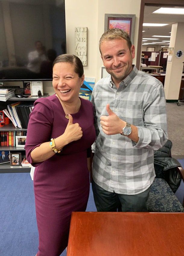 R.I. Education Commissioner Angelica Infante-Green, left, and Nick Hemond, chair of the Providence School Board, strike a thumbs-up pose for a post on Twitter in 2019 when the state takeover of the Providence public schools became official.