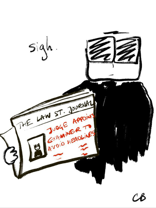 A drawing by Charlotte Bismuth post on Twitter,  who has been chronicling the proceedings in federal bankruptcy court in White Plains, N.Y..