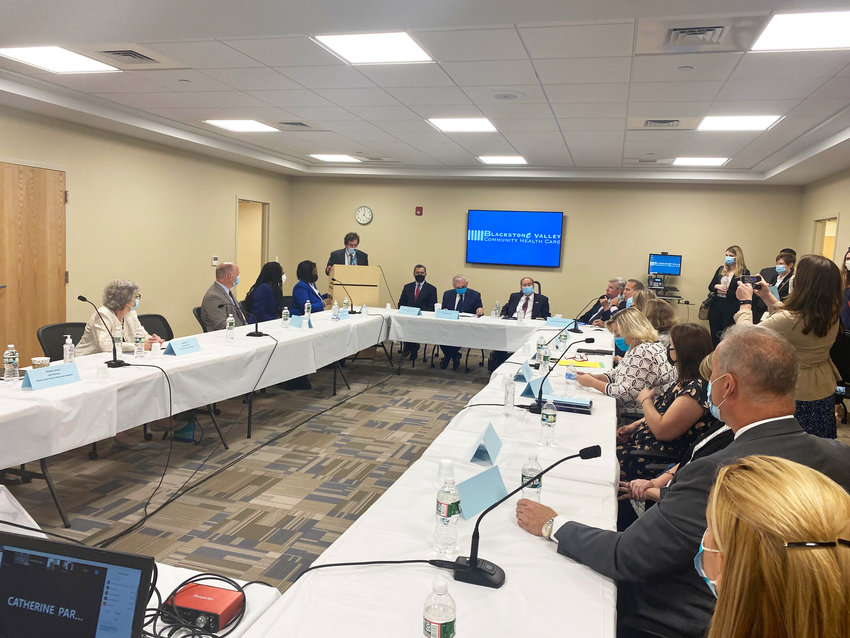 HHS Sec.Xavier Becerra conducts a meeting in Central Falls at Blackstone Valley Community Health Care center.