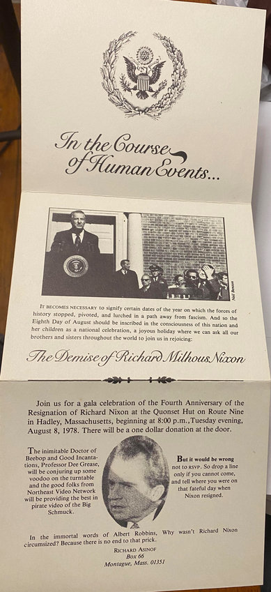 The invitation to the 1978 party to celebrate the resignation of Richard Nixon