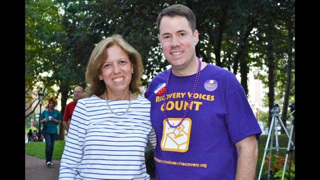 M. Teresa Paiva Weed, president of the Hospital Association of Rhode Island, with Tom Coderre, at a past Rally4Recovery.