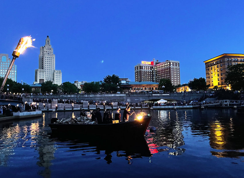 The lighting ceremony at WaterFire on Saturday, Sept. 4, honoring the front line heroes during COVID.