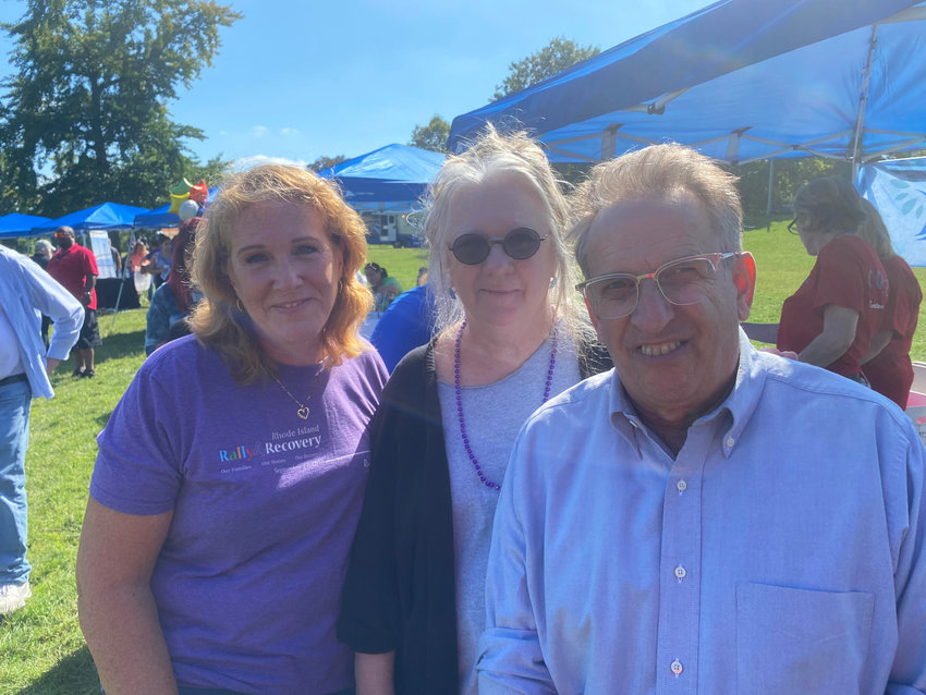Rally4Recovery participants on Sept. 18 included, from left: Rebecca Boss, former director of R.I. BHDDH, Linda Hurley, president and CEO of CODAC, and State Sen. Josh Miller