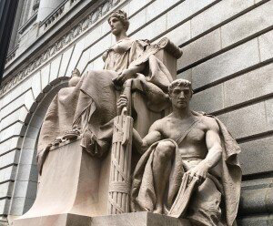 The statue in front of the federal courthouse in Providence, where hearings are scheduled for the week of Oct. 18.
