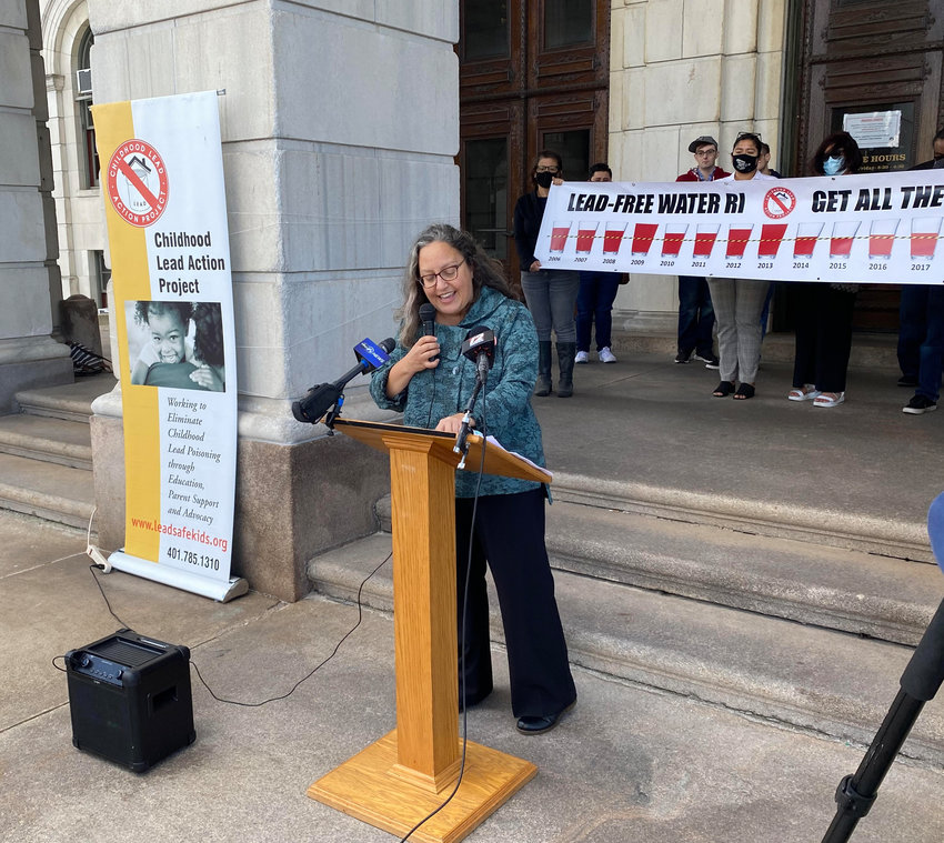 State Rep. Rebecca Kislak addresses the rally at the State House urging the state to invest $500 million to replace all the lead water pipes in Rhode Ialnd.