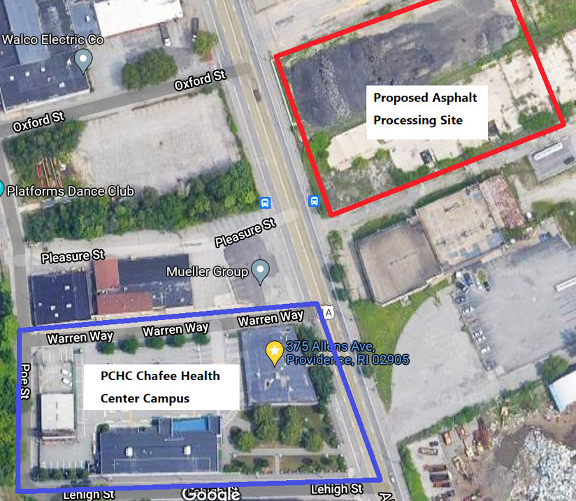 The visual image used by Dr. Andrew Saal, MD, the chief medical officer at the Providence Community Health Centers, opposing the variance for the asphalt grinding operation run by Narragansett Improvement Co., less than 250 feet from the health centers.