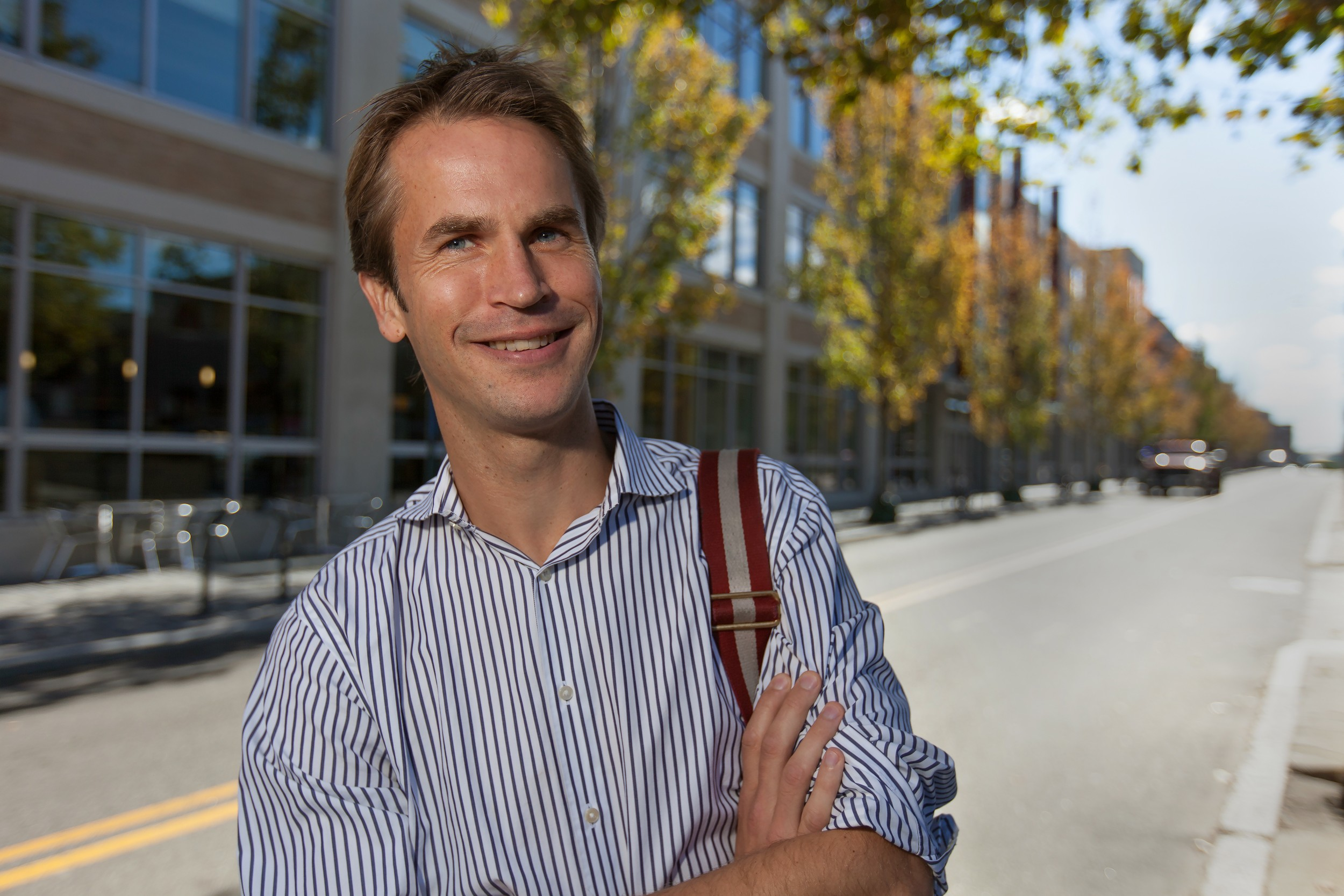 Erik Wernevi, founder of Nordic Technology Group, in front of the Warren Alpert Medical School. Wernevi seeks to create the world's safest personal emergency response system