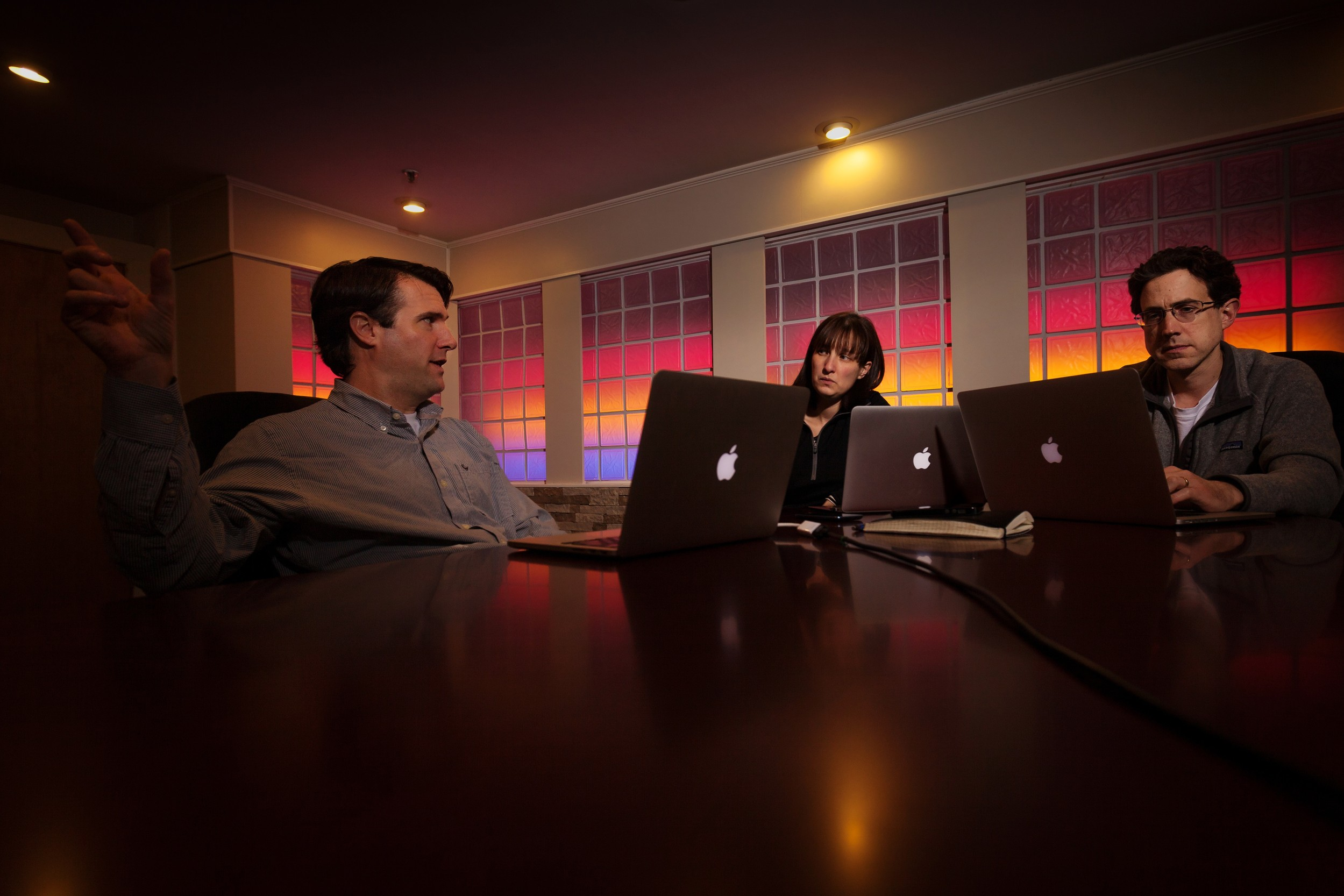Nick Adams, left, co-founder and president of Care Thread, Renee S.Bessette, vice president of Marketing and Operations, and Andrew Shearer, co-founder and chief technical officer, at their offices in downtown Providence.