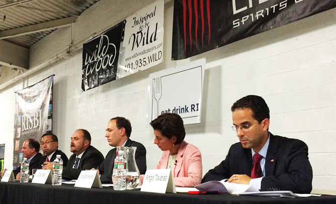 The six 2014 candidates running for governor in Rhode Island at the Eat Drink Rhode Island forum on Aug. 13, hosted by the Sons of Liberty Spirits distillery in South Kingstown.