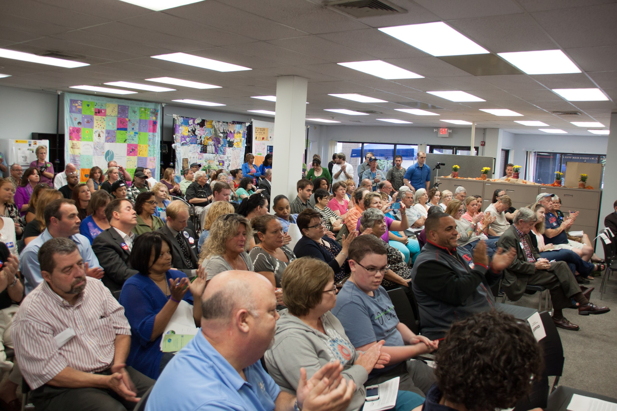 The RICares gubernatorial forum on Aug. 22 drew a capacity crowd of more than 150 people.
