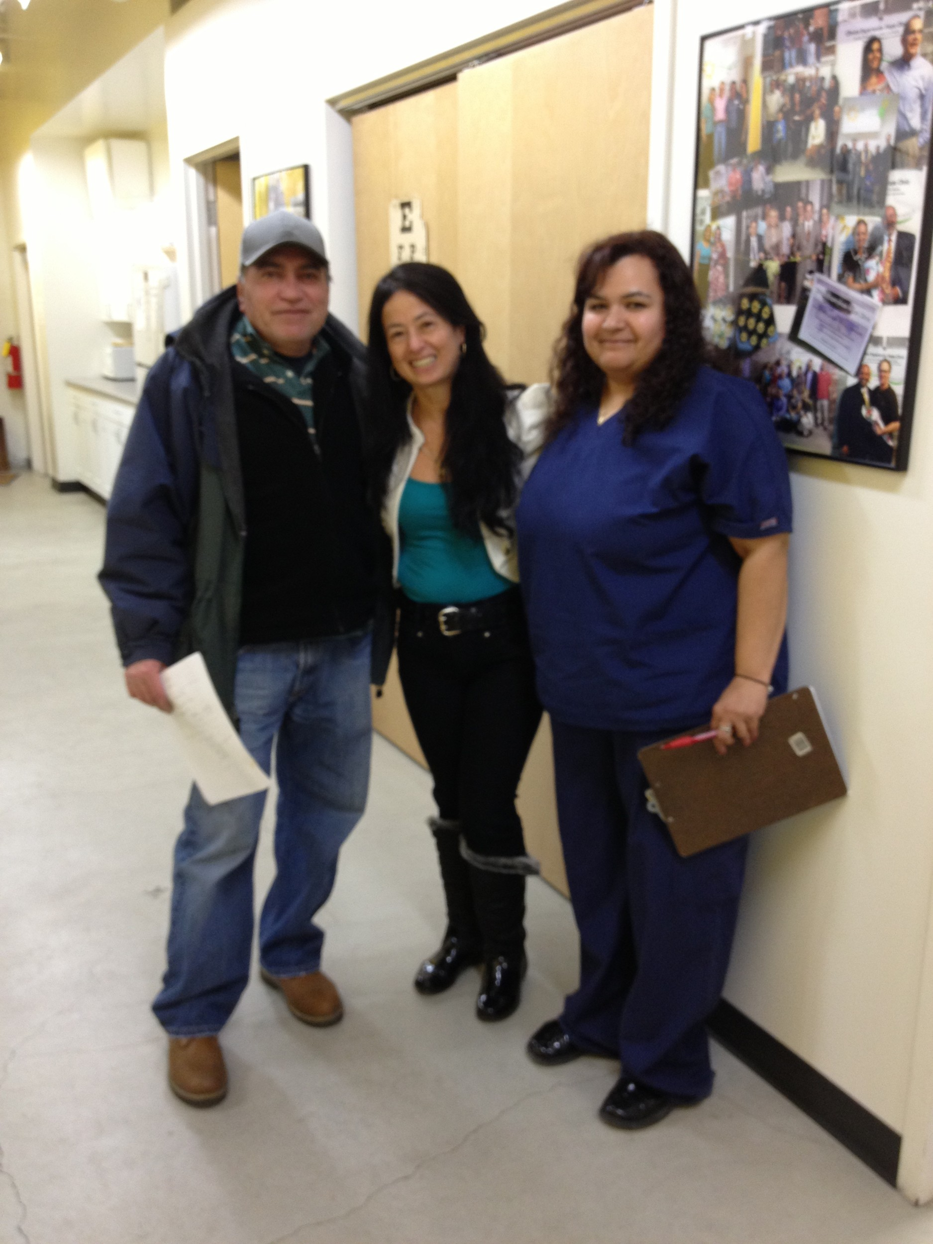 "Damaris Rosales, right, with Luz Betancor and one the Clinica Esperanza ""success"" patients."