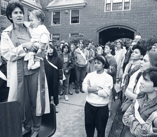 How much has changed in 30 years? Toby Simon, holding her son, Ben, at a 1985 rally at Brown University, at which students called for an end to sexual assault on campus. The rally was held in the Wriston Quad, where many of the fraternities are located.