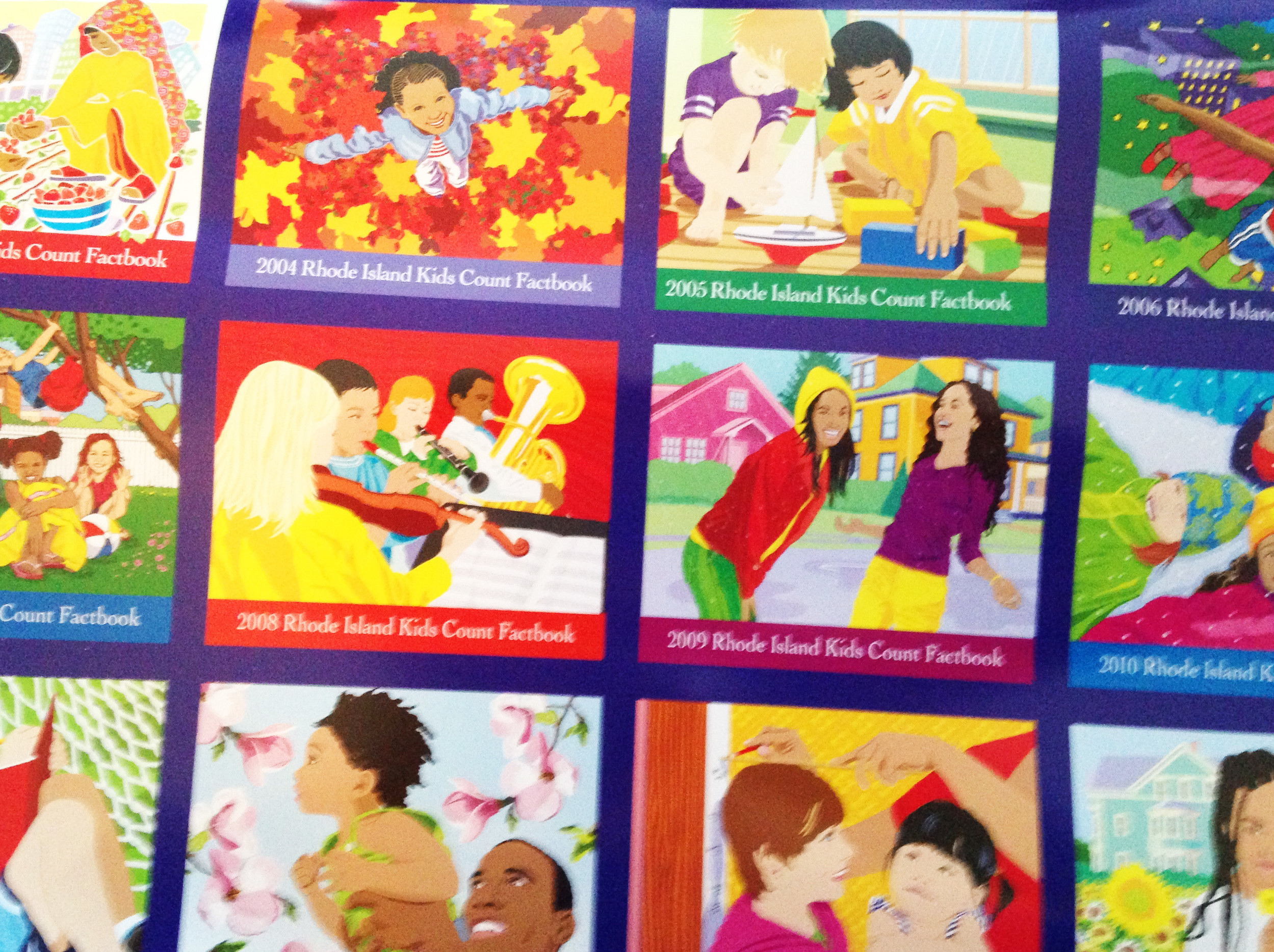 Images from a collage of covers of the first 20 Rhode Island Kids Count Factbooks published as a poster in 2014