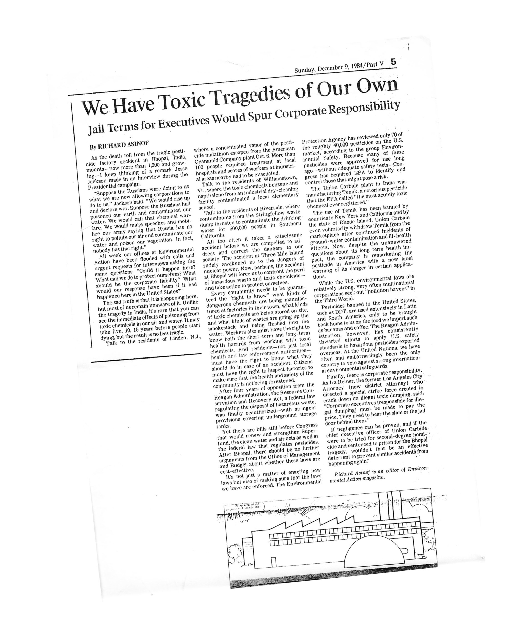 "The op-ed in the Los Angeles times from December of 1984, entitled: ""We Have Toxic Tragedies of Our Own."""