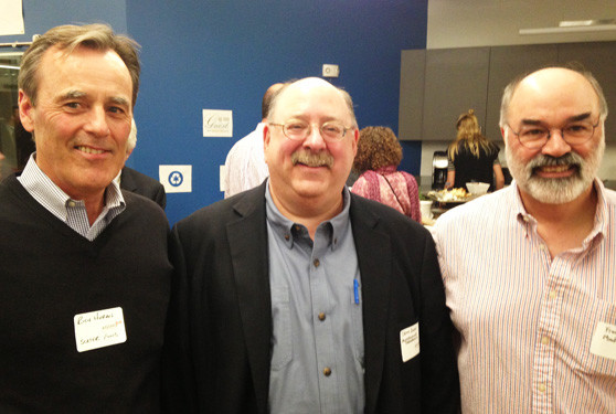 Richard Horan, managing director of the Slater Technology Fund, Stevin Zorn, CEO of MindImmune, Inc., and Frank Menniti, chief scientific officer at MindImmune, at the Aging 2.0 startup pitch event.