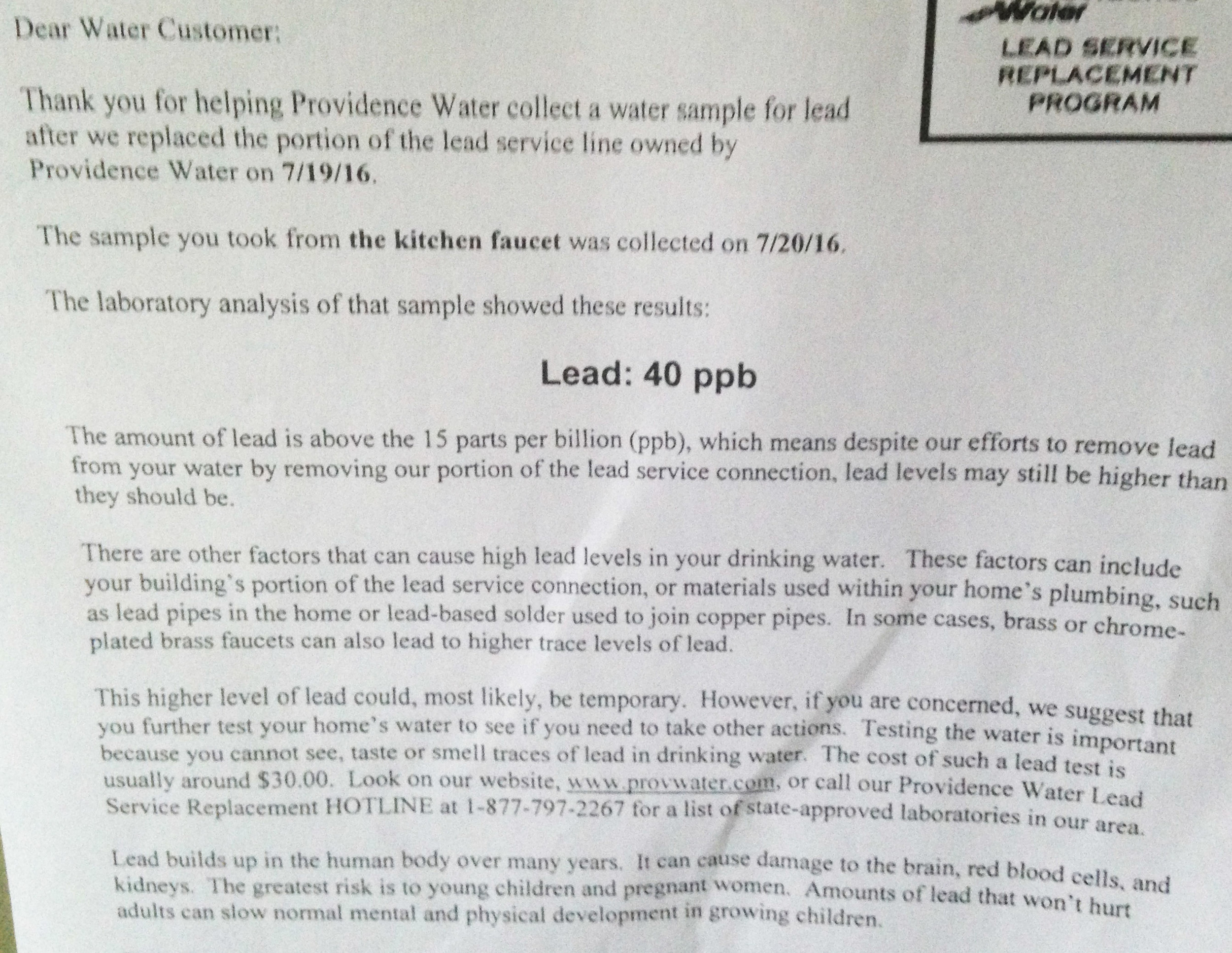 A letter from Providence Water Supply that water tested from a kitchen faucet contained 40 parts per billion of lead, exceeding the federal standard of 15 ppbs.