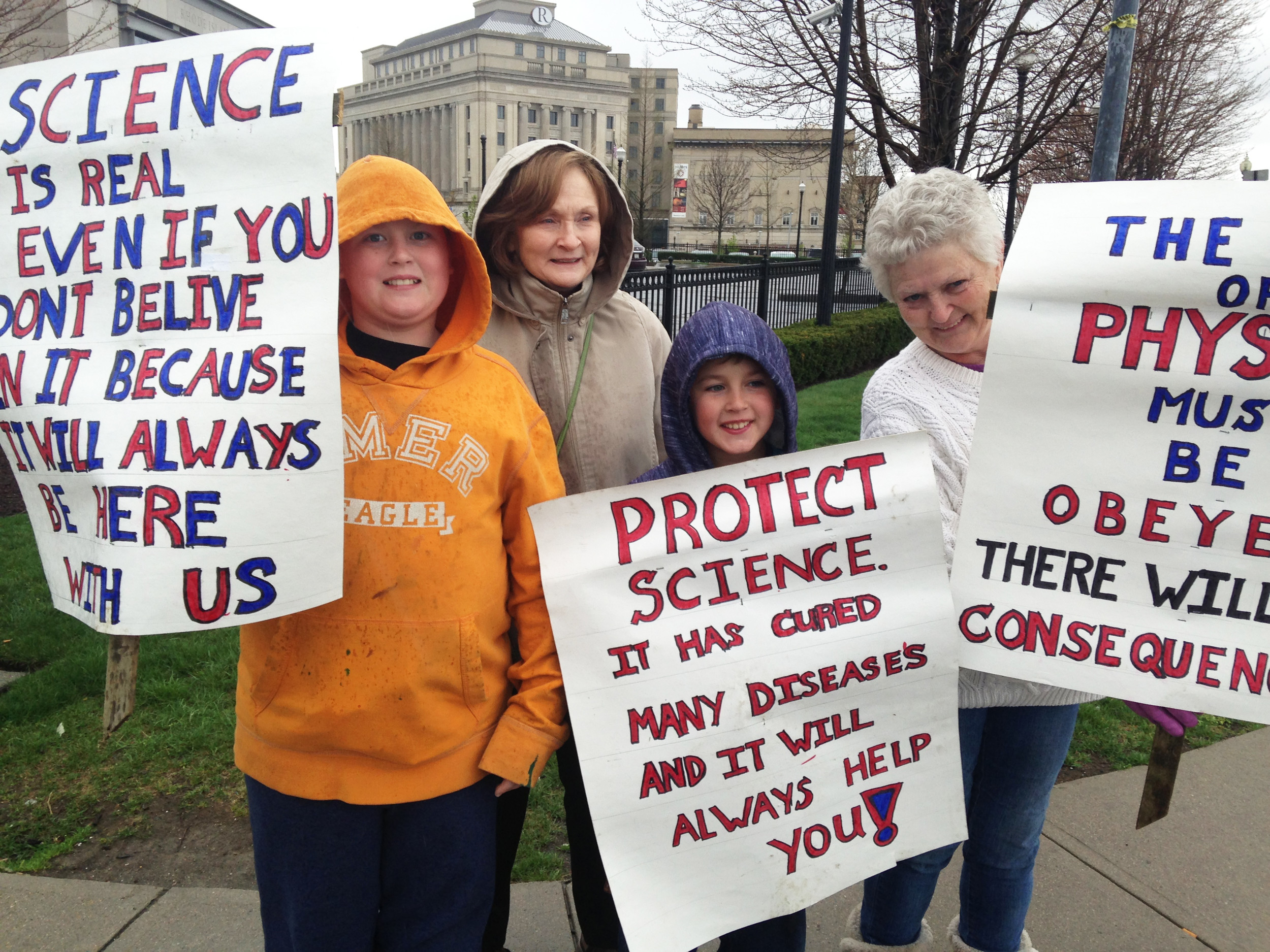 Three generations of a family joined the March for Science in Providence on April 22.