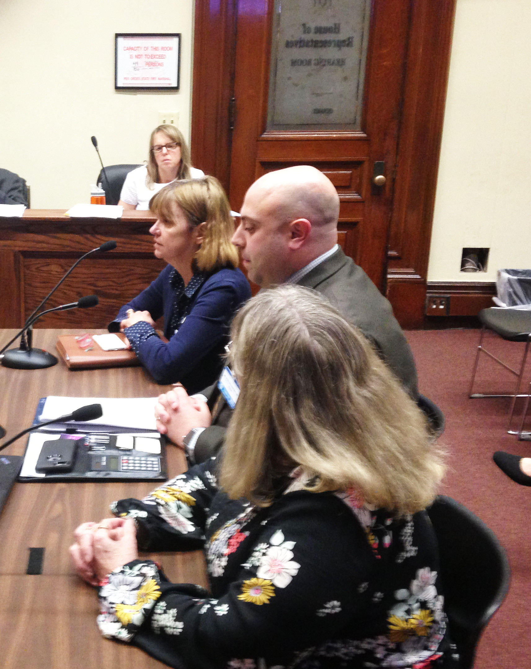 Virginia Burke, president and CEO of the Rhode Island Health Care Association. left, Nicholas Oliver, executive director of the R.I. Partnership for Home Care, and Gail Sheahan, owner of Consistent Care, offer testimony at the April 27 hearing of the House Committee on Oversight.