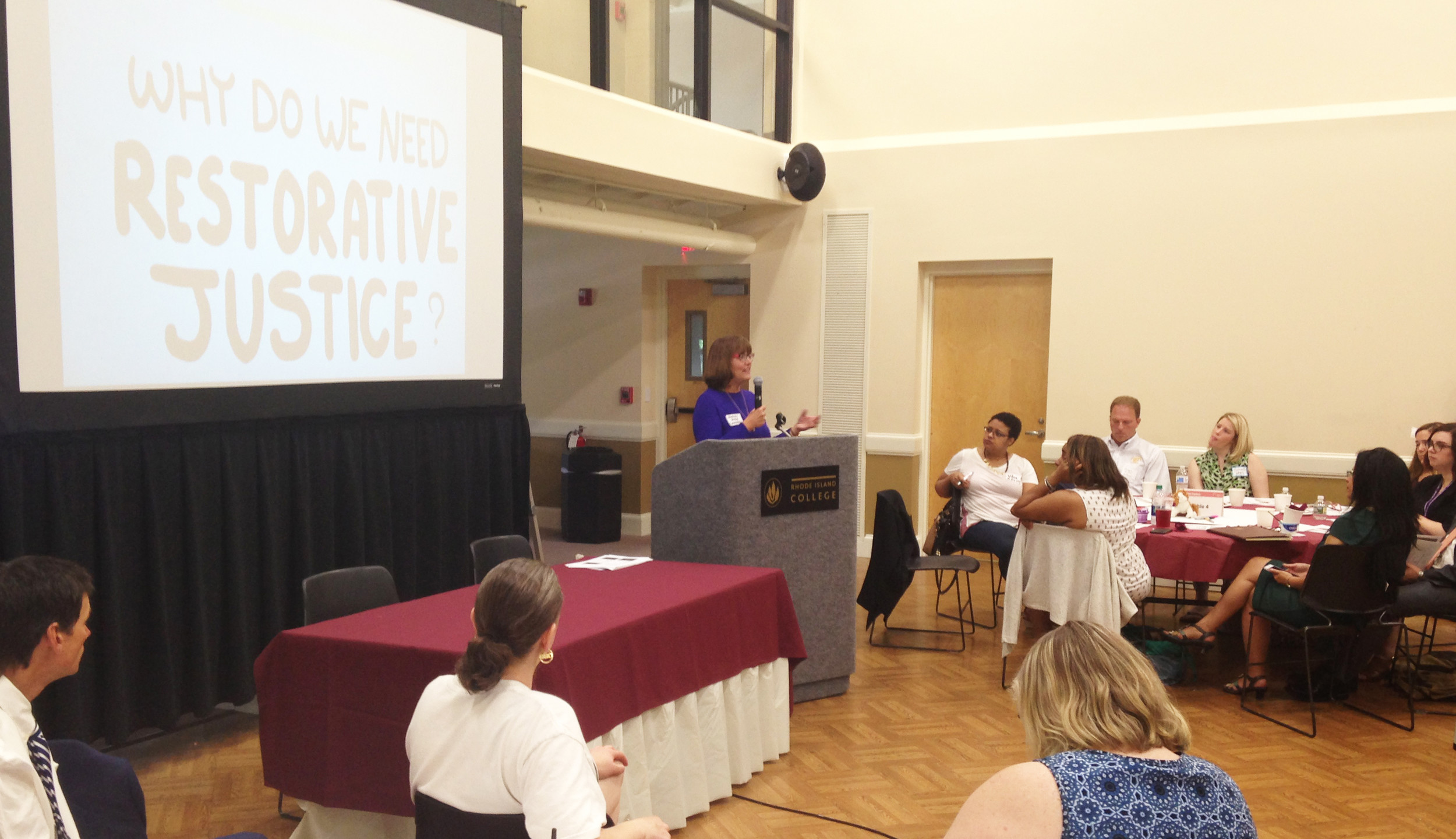 Retired Superior Court Judge Judith Savage addresses the 2017 Restorative Practices/Restorative Justice symposium at Rhode Island College on May 18.