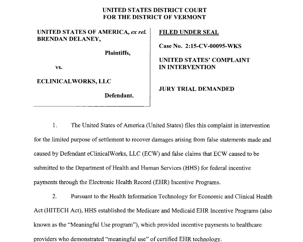 A copy of second page of the original complaint filed in the lawsuit against eClinicalWorks. The case is captioned United States ex rel. Delaney v. eClinialWorks LLC, 2:15-CV-00095-WKS (D. Vt.). The claims resolved by the settlement are allegations only, and there has been no determination of liability.