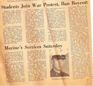 The news story that appeared in The Millburn Item,. the local weekly, about the planned high school assembly program to be held on Oct. 16, 1969. Beneath it is the story of local resident who had died in Vietnam.