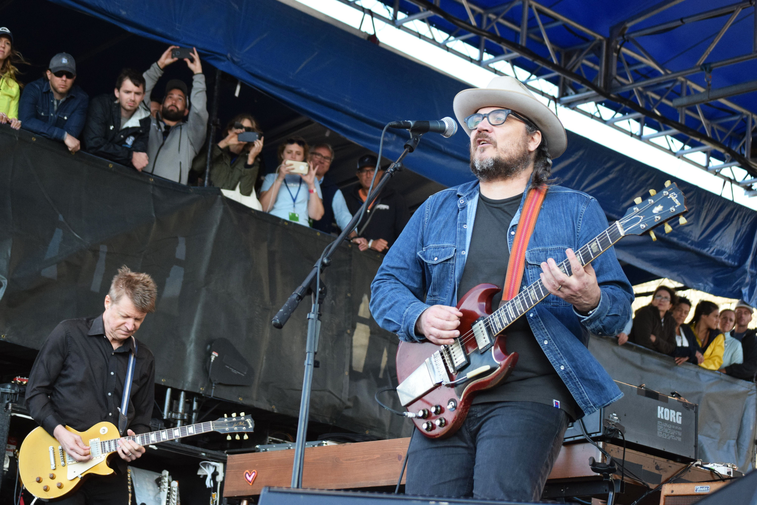 Guitarists Nels Cline, left, and Jeff Tweedy of the band Wilco perform on the Fort Stage of the Newport Folk Festival on Saturday, July 29.