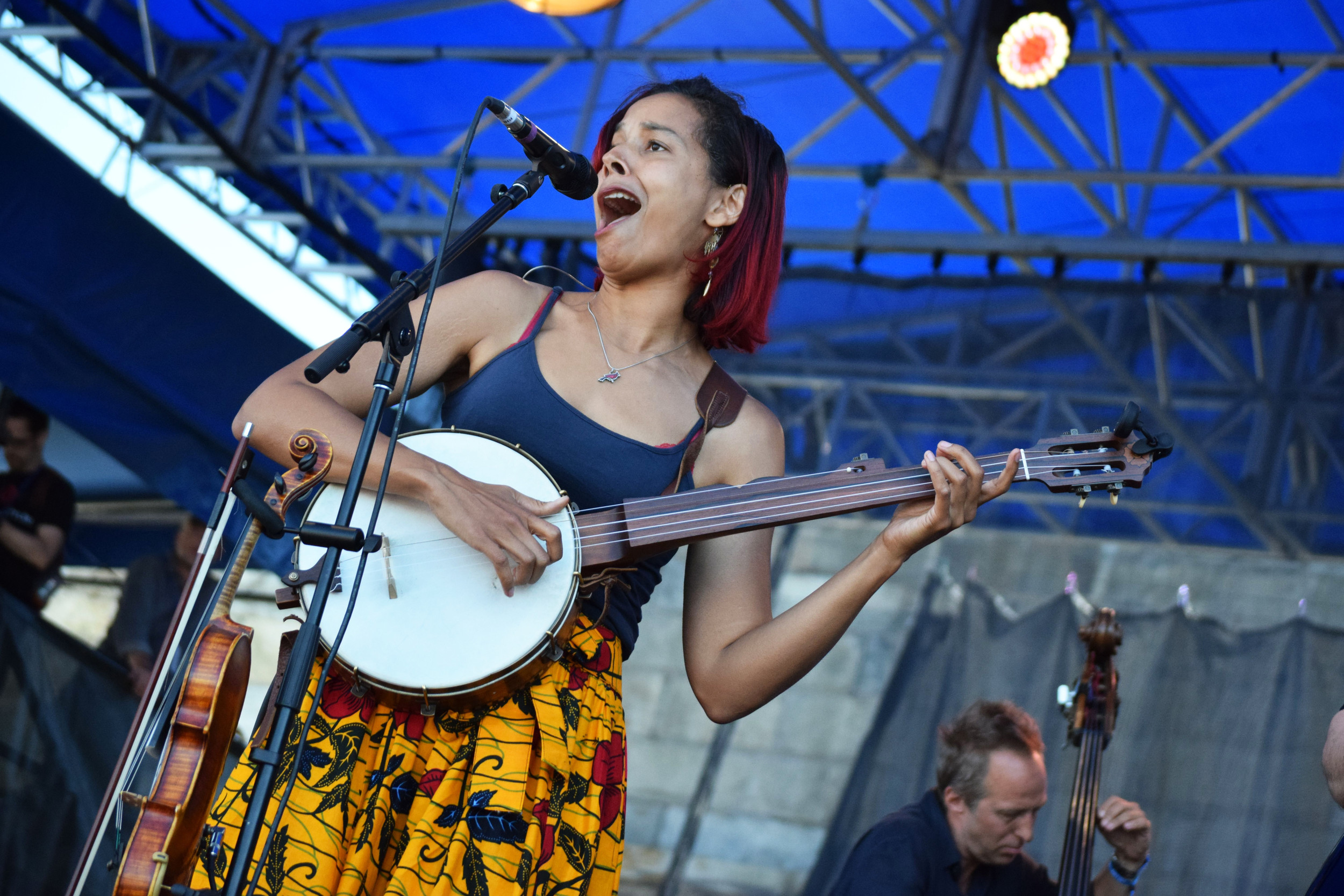 Singer, violinist, banjo player Rhiannon Giddens performs Sunday, on the main stage of the Newport Folk Festival. She is also scheduled to headline the Newport Jazz Festival.