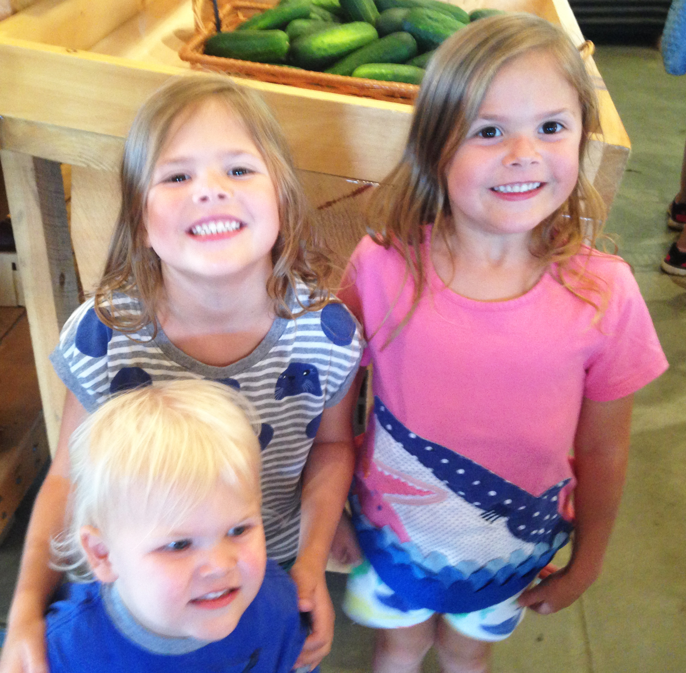 Three young shoppers with their parents say that they much preferred to shop at Four Town Farms over Whole Foods.