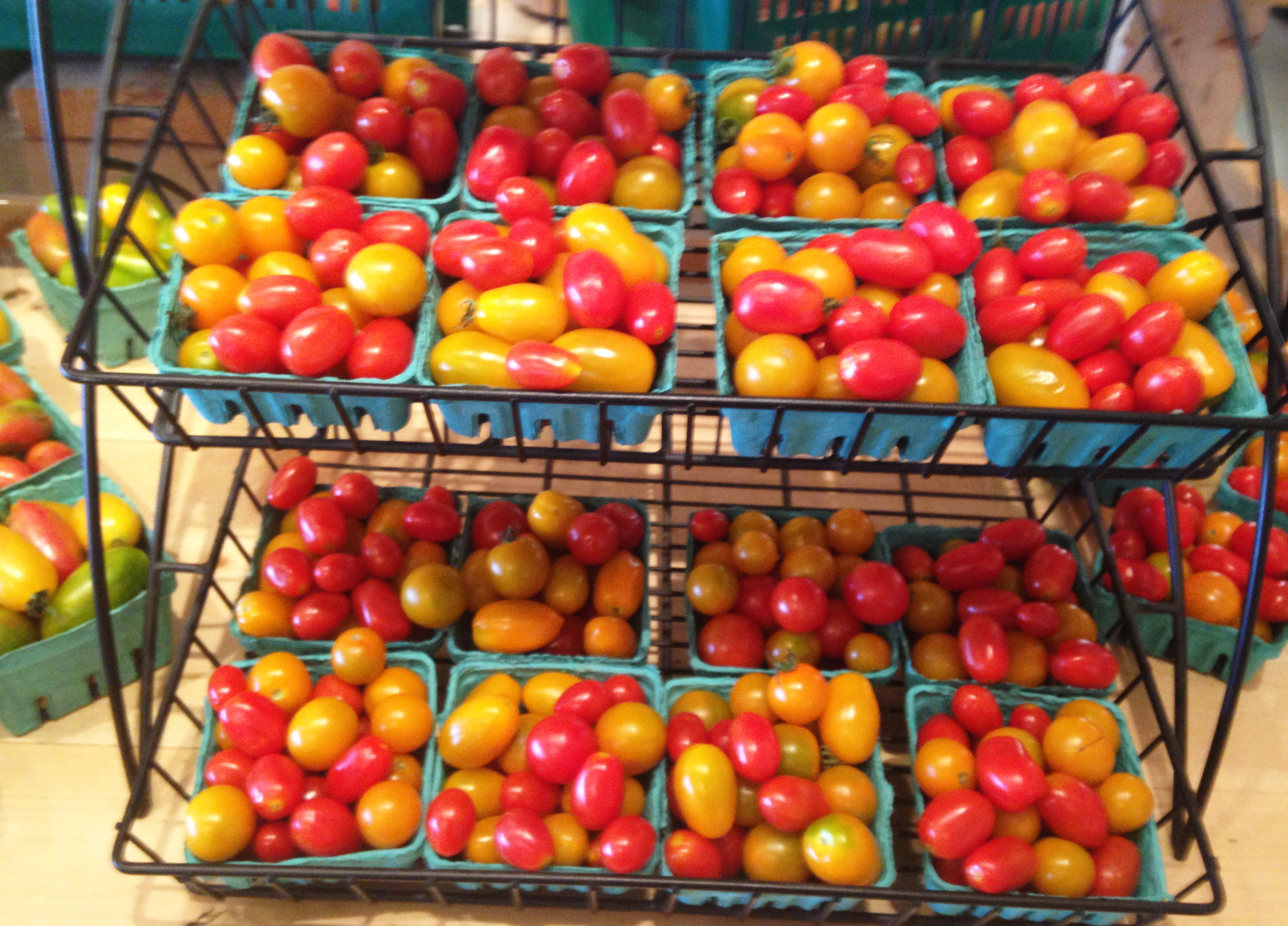 A rack of cherry tomatoes at Four Town Farm.