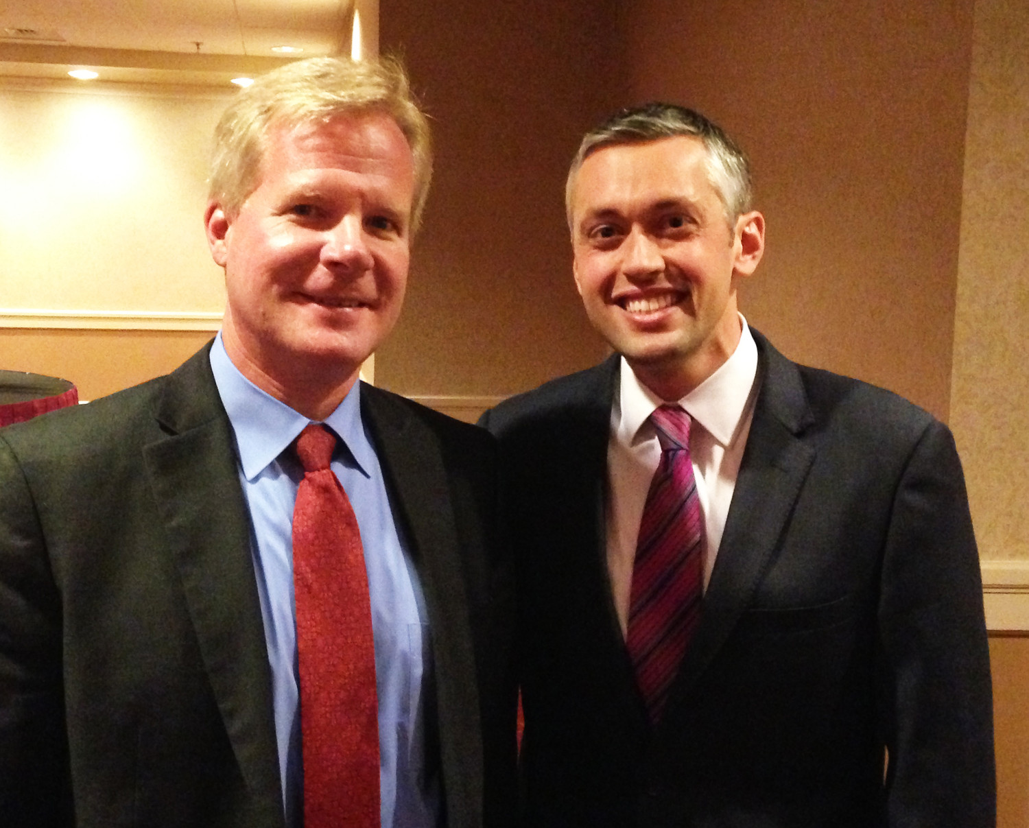 James Nyberg, left, director of Leading Age RI, and Ted Nesi, WPRI-TV, who was the keynote speaker at the 13th annual policy summer hosted by Leading Age RI.