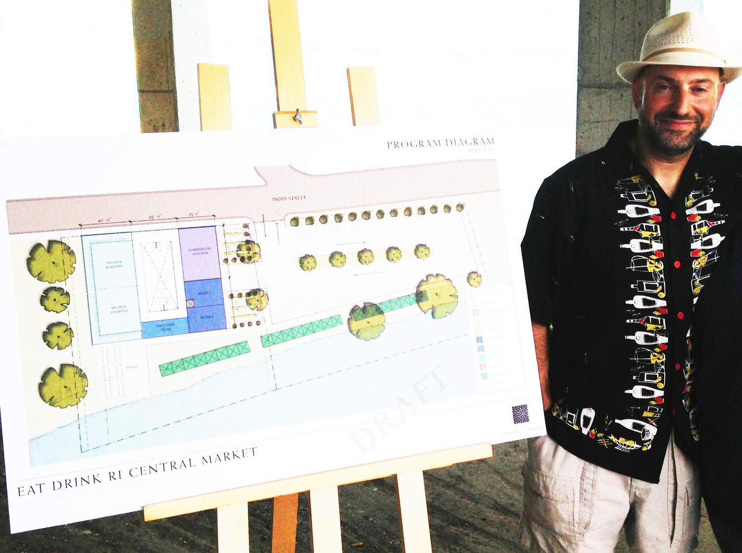 David Dadekian of Eat Drink RI with draft architectural drawings for the proposed Central Market.