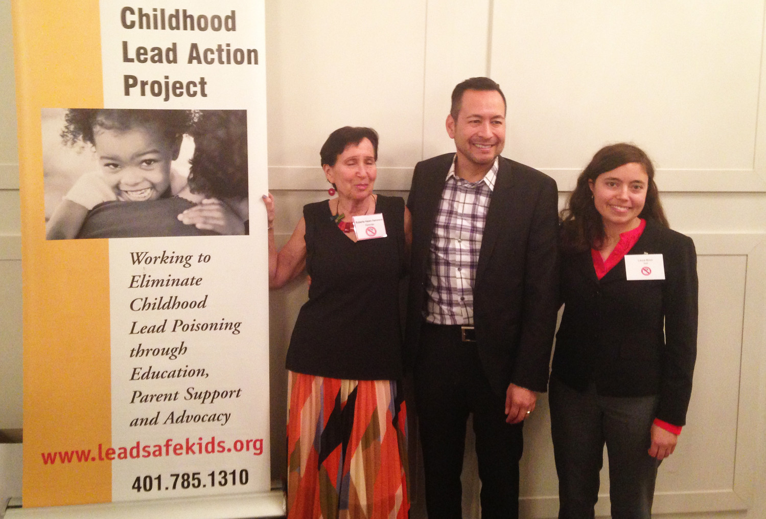 Roberta Hazen Aarondon, left, Mario Hilario, and Laura Brion, at the 25th anniversary of the Childhood Lead Action Project.