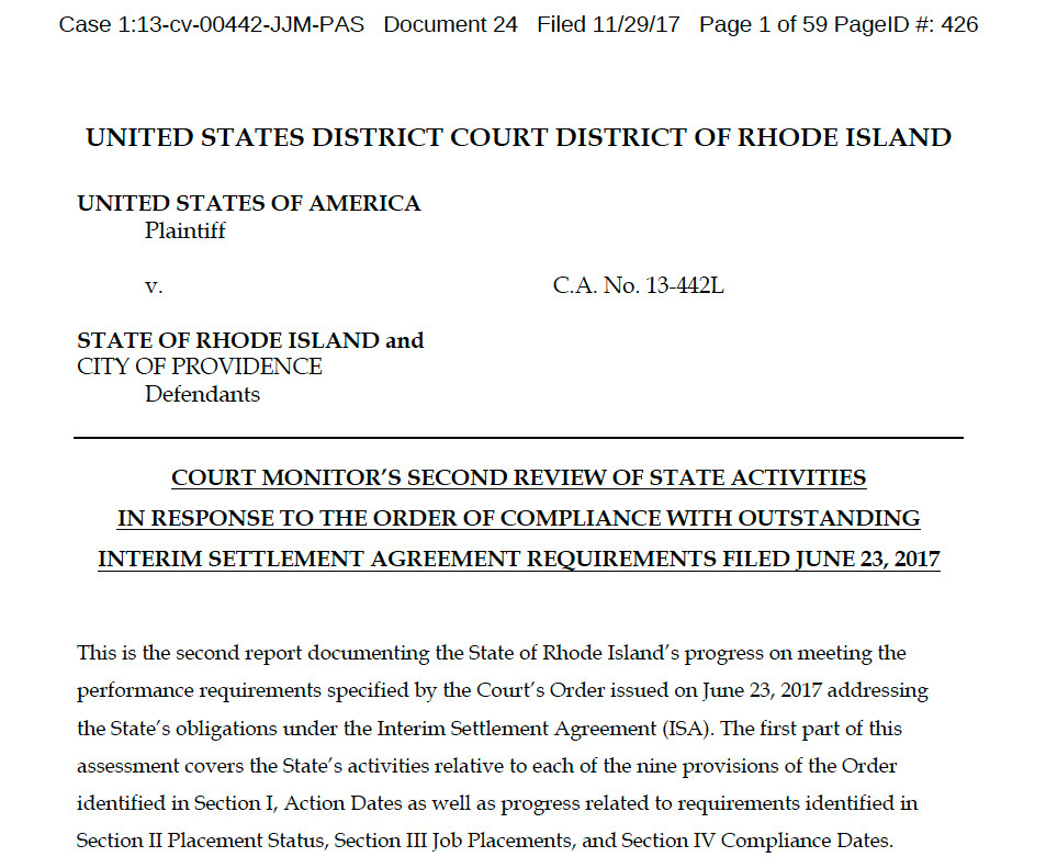 The first page of a 59-page report submitted on Nov. 29  by independent monitor Charles Moseley on the compliance efforts by the state of Rhode Island, which was made public during a Nov.30 court hearing in U.S. District Court.