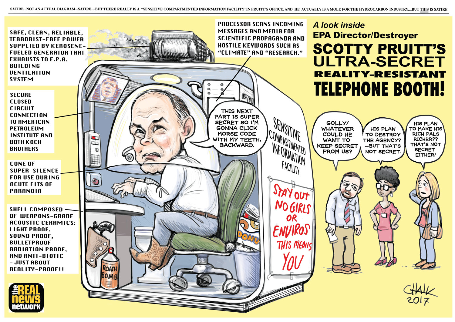 A satiric cartoon of the secure communications booth that EPA Administrator had installed in his office. [To see more work by Chalkley, go to TRNN.com.]