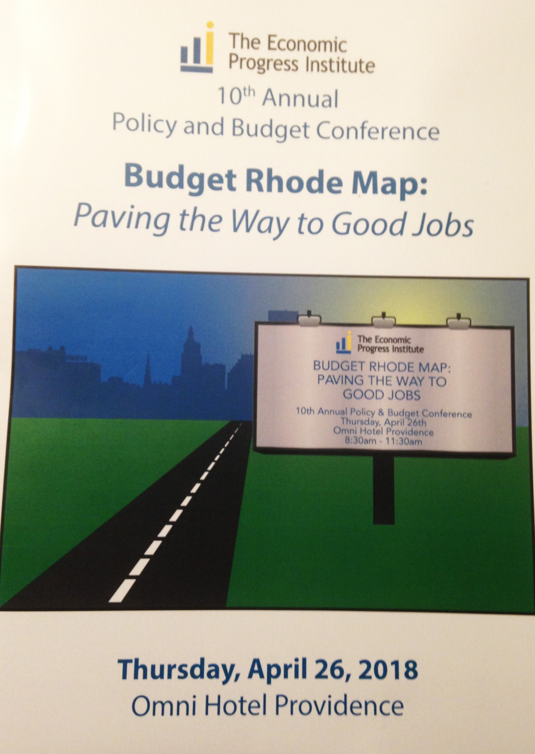 The program cover for the 10th annual policy and budget conference hosted by the Economic Progress Institute.