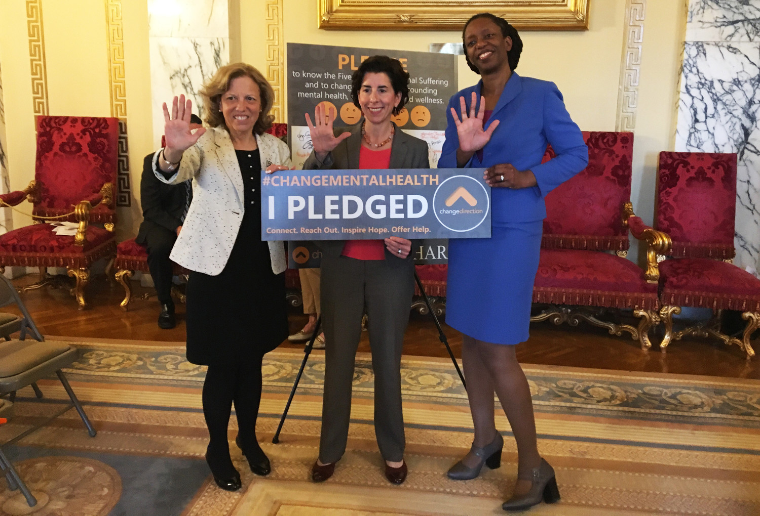 Promoting the campaign recognize the five signs of depression as part of mental health awareness month are Teresa Paiva Weed, executive director of the Hospital Association of Rhode Island, Gov. Gina Raimondo, and Dr. Nicole Alexander-Scott, director of the R.I. Department of Health.