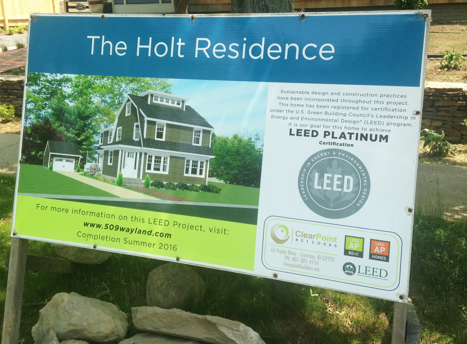 The sign advertising the LEED Platinum Certification of the Holt Residence.