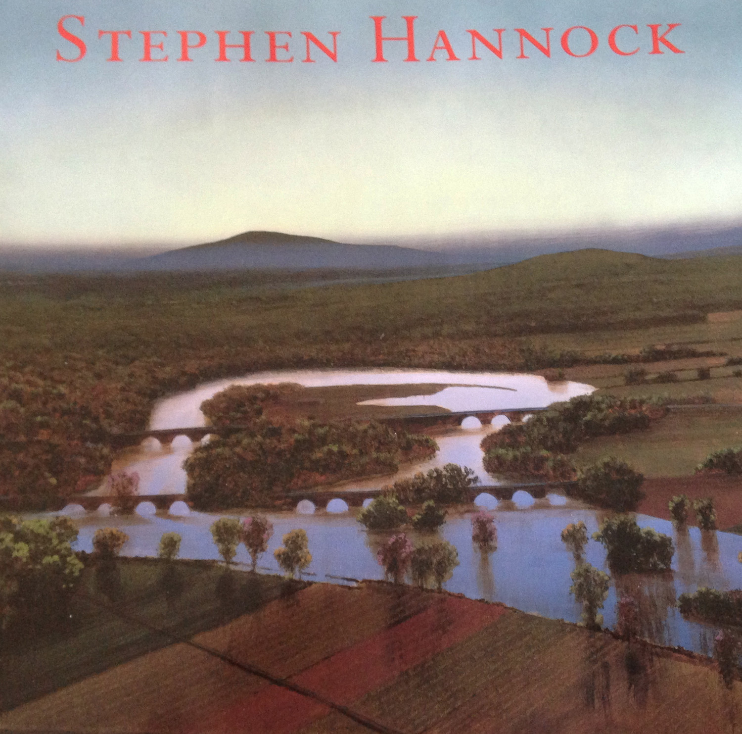 "A photo of the book jacket to the 2009 book, Stephen Hannock, published in 2009 by Hudson Hill Press, a collection of Hannock's artwork, an image from the painting, ""The Oxbow: After Church, After Cole, Flooded [Flooded River for the Matriarchs, E. and A. Mongan], Green Light, 2000."