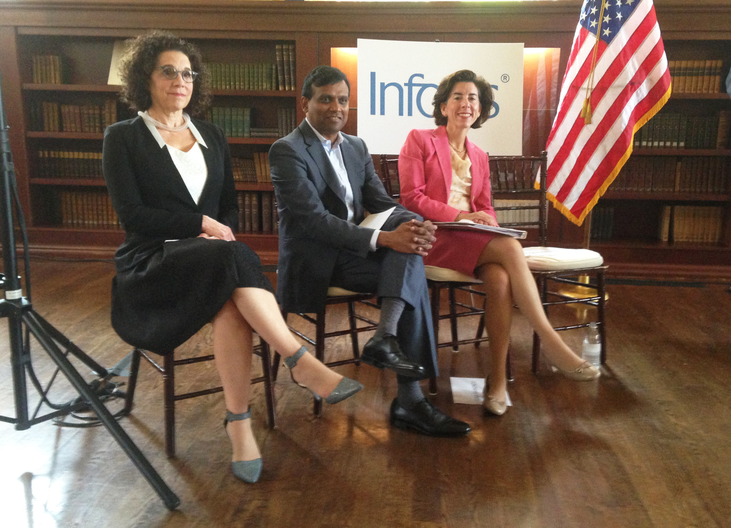 Rosanne Somerson, left, president of RISD, Rajiv Kumar, president and COO of Infosys, and Gov. Gina Raimondo.